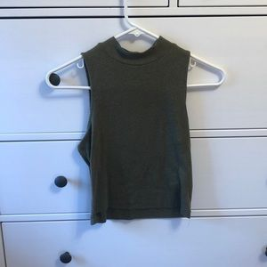 Olive Green Mock Turtleneck Crop Top
